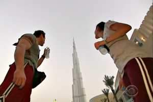 A scene from the episode of The Amazing Race filmed in Dubai. Courtesy CBS