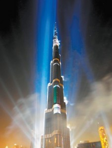 The Burj Khalifa, the world's tallest building, is illuminated during an opening ceremony on Jan. 4 in Dubai, United Arab Emirates. (Associated Press file photo)