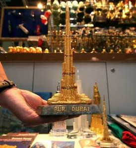 Souvenirs with the outdated Burj Dubai name are selling at a discount as traders await new stock. Paulo Vecina / The National