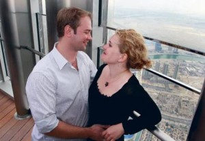 Couple embrace atop the Burj Khalifa.Image Credit: xpress/pankaj sharma