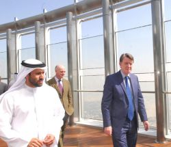 The Right Honourable Lord Peter Mandelson, UKs First Secretary of State, Secretary of State for Business, Innovation and Skills (BIS) and Lord President of the Council and Mr Abdulla Lahej, Executive Director, Dubai Project Management, Emaar Properties, tour At the Top, Burj Khalifa the worlds highest observation deck with an outdoor terrace on Level 124 of Burj Khalifa, the worlds tallest building developed by Emaar.