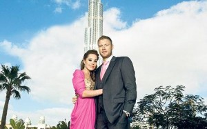 Andrew and Rachael Flintoff in front of the Burj Khalifa, the world's tallest building