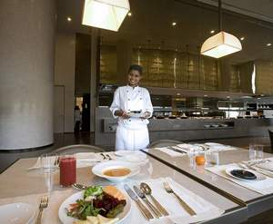 Dubai - April 27, 2010 - Ready to serve in the Armani Mediterraneo restaurant in the Armani hotel in the Burj Khalifa in Dubai April 27, 2010. (Photo by Jeff Topping/The National)