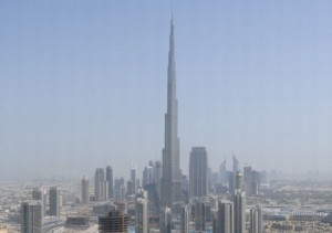 Putzmeister's specially-designed BSA 14000 SHP-D reached a world record vertical concrete pumping height of 1,988 feet (606m) topping out the Burj Khalifa, the world's tallest building at 2,717 feet (828m) high, in the United Arab Emirates.