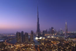 Emaar properties Downtown Dubai with the Burj Khalifa the world's tallest building at 828 meters.