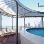 *  Pool deck in the residential section of the Burj Khalifa. Apartments are now being released on to the market.     * Image Credit: Supplied
