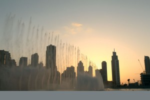 Treated wastewater is used for the fountain display at the foot of the Burj Khalifa in Dubai.