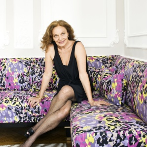 Diane von Furstenberg in one of the suites she has designed for Claridge's
