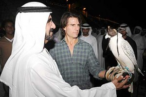 Tom Cruise takes time out from filming to meet Sheikh Mohammed bin Rashid, Vice President of the UAE and Ruler of Dubai.  WAM