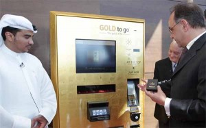 From left, Ahmad Juma Al Falasi, Executive Director - Property Management, Emaar Properties with Thomas Geissler, CEO of Ex Oriente Lux, at the unveiling ceremony of 'Gold to Go' vending machines at the observation deck of the Burj Khalifa (SUPPLIED)