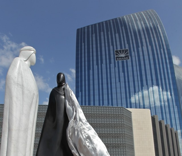 A new sculpture, titled 'Together', was unveiled at Downtown Dubai on Monday, celebrating the uniqueness of Arab culture.