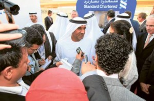 *  Shaikh Ahmad with mediapersons after a ground-breaking ceremony at Emaar Square to mark the start of construction of the Standard Chartered bank's new Dubai head office.     * Image Credit: Megan Hirons Mahon/Gulf News