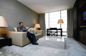 *  Bashir Hiridjee at home in his Dh9.3 million apartment at The Armani Residences.     * Image Credit: Stefan Lindeque/ANM