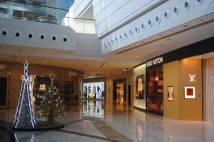 This is a shot of the Elements Mall at the bottom of the ICC building. It is designed from the five basic elements of Chinese belief - earth, water, fire, wood and metal.