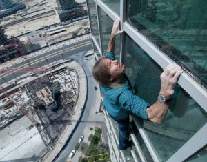 Don't look down. The French Spiderman takes on Ramada Downtown Dubai.