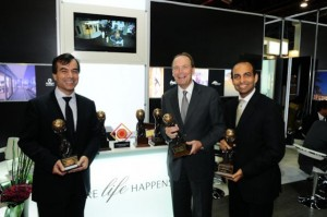 (Mark Dardenne, CEO Emaar Hospitality, celebrates his World Travel Awards victories)