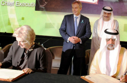H.E. Sheikh Nahayan Mabarak Al Nahayan, Minister of Higher Education and Scientific Research and Chancellor, Higher Colleges of Technology and H.E. Tony Blair, Quartet Representative to the Middle East & Patron of the Tony Blair Faith Foundation and Dr Tayeb Kamali, Vice Chancellor Higher Colleges of Technology at the MoU signature ceremony between HCT and Pearson.