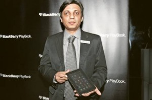 *  Image Credit: Karen Dias/Gulf News     * Sandeep Sahgal, managing director — Middle East for RIM, with the new BlackBerry Playbook at the VIP preview of the gadget at Prive, Armani Hotel at the Burj Khalifa.