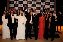 Etihad's Vice President Marketing Andrew Ward, Etihad's Vice President UAE Sales Hareb Al Muhairi, Etihad's Chief Commercial Officer Peter Baumgartner, Etihad's Vice President Product and Services Lee Shave and Etihad staff collect the airline's four awards, including the coveted title of Middle East's Leading Airline, at the World Travel Awards ceremony for the Middle East held at the Armani Hotel in Dubai last night.