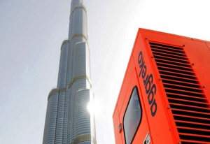 Aggreko generators on-site at the base of the world's tallest building.