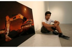 Sami al Turki with one of his work at The Pavilion in Downtown Dubai. Pawan Singh / The National