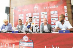 *  Image Credit: Megan Hirons Mahon/Gulf News     * From left: Karim Murabet, Al Ahli team adviser, Jackson Avelino Coelho, a Brazilian footballer nicknamed Jaia, Ahmad Khalifa Hammad, Al Ahli CEO, Ivan Hasek, Al Ahli coach, and Brazilian Edinaldo Batista, known as Grafite, at a press conference at the Burj Khalifa recently.