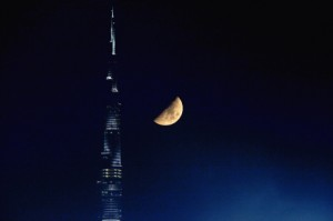 People who live on the upper floors of the Burj Khalifa must wait a little longer to break their fast because it takes them longer to see the sun set.  Jeff Topping / The National