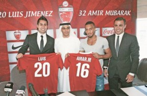 *  Image Credit: Virendra Saklani/Gulf News     * Luis Jimenez, Ahmad Hamad Khalifa, CEO, Amir Mubarak and Fabio Cannavaro, global brand ambassador and technical consultant, at a press conference to unveil Al Ahli's new signings.