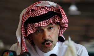 Saudi billionaire Prince Alwaleed bin Talal speaks to the press about his plans to build the world's tallest skyscraper. Photograph: Fahad Shadeed/Reuters