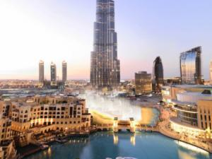 The 200-storey Burj Khalifa, the world's tallest building at 828m rising above Dubai, has been described as a vertical city, with its 160 habitable levels containing the Armani Hotel, office space, four swimming pools, private homes and restaurants and corporate suites. Picture: Emaar Properties
