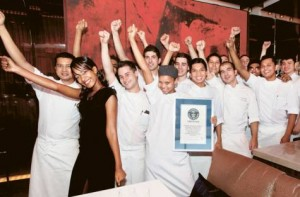 *  Image Credit: Oliver Clarke/Gulf News     * Staff at At.mosphere restaurant in Burj Khalifa celebrate their entry into the Guinness Book of World Records.