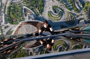 Filming of the movie hit the international headlines last year when Tom Cruise was photographed dangling from the outside of the Burj Khalifa in one scene.  Courtesy of Paramount Pictures