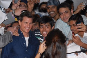 Tom Cruise poses in Mumbai. Divyakant Solanki / EPA
