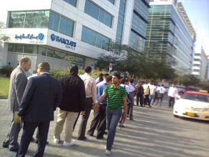 A long queue of job seekers in front of Emaar headquarter on Friday morning