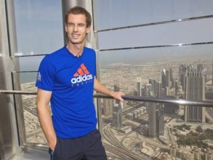 Andy Murray on the observation deck of Burj Khalifa, the world's tallest building, in Dubai EPA