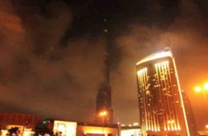 *  Image Credit: Sankha Kar, Gulf News     * Picture of Burj Khalifa taken at 12.19am on Sunday. The picture clearly shows fog-covered Burj Khalifa, quashing rumours of fire.