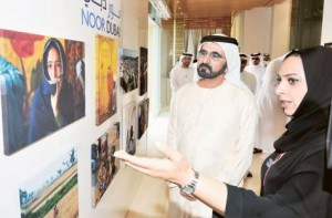 *  Image Credit: WAM     * His Highness Shaikh Mohammad Bin Rashid Al Maktoum, Vice-President and Prime Minister of the UAE and Ruler of Dubai, yesterday visited a charity art exhibition organised by Noor Dubai Foundation in the Burj Khalifa area.