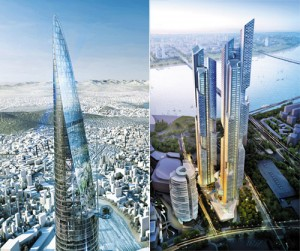 Artist's impressions of Triple One (left) and Boutique officetel building