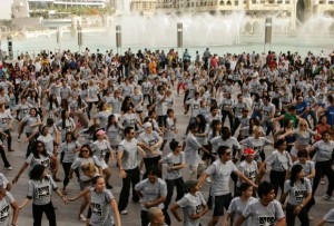 DANCE YOUR WAY TO FITNESS…Participants of a dance-cum-fitness event move to the tune of Michael Jackson's hit song Thriller at Burj Steps in Dubai on Friday.— KT photo by Shihab