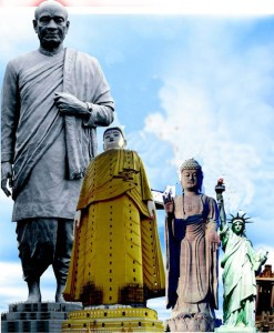 (From left) The 182m the statue of Indian Independence hero Sardar Vallabhbhai Patel will surpass the tallest statue in the world currently, which is China's Spring Temple Buddha at 128m. The Ushiku Daibtsu, also of the Buddha is in Japan at 110 metres. The Statue of Liberty in New York stands at 93 metres. (Pics courtesy: statueofunity.in)