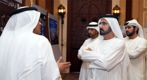 Shaikh Mohammed, Shaikh Hamdan and Shaikh Maktoum attend a briefing on the new project.