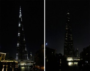 A combination photo shows Burj Khalifa before (L) and during Earth Hour in Dubai, March 23, 2013.- Reuters