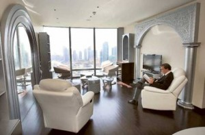 Image Credit: Gulf News Archives     An apartment in the Burj Khalifa. According to Cluttons, current prices in the Burj Khalifa average Dh3,750 a square foot, while elsewhere in Dubai they are Dh1,359.