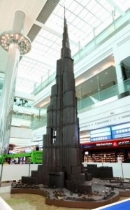 Dubai International has unveiled the world's tallest structure in chocolate, a 44.2 feet tall model of the world's tallest skyscraper Burj Khalifa. Courtesy Dubai Airports