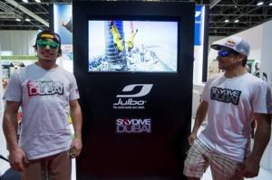 Base jumpers Vince Reffet, left, and Fred Fugen at the Vision-X conference in Dubai. Christopher Pike / The National